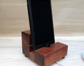 Wood cell phone dock, iphone 7 stand, iphone 6s plus, iphone SE dock, cell phone stand, charging stand, wood phone display stand, universal.