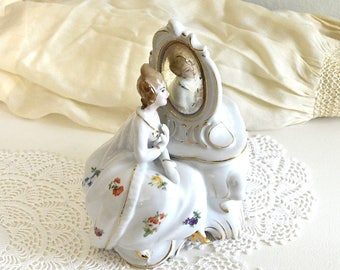 vintage victorian lady lidded jar Dermay vanity dresser decor romantic French decor ceramic lidded container