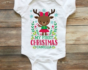Baby Girl First Christmas Outfit - My First Christmas Girl - Personalized Baby Christmas Outfit - 1st Christmas Shirt Girl - Reindeer Shirt