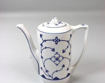 Vintage Jack Eisenberg, coffee pot, teapot, original Blau Saks, Indian blue Immortelle,