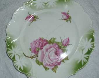 Shabby cottage chic old rose floral china plate, vintage Germany