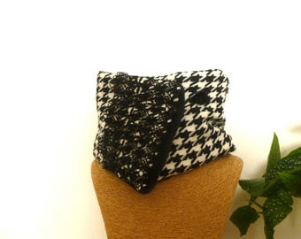 Scarf collar snood wool houndstooth black and white lace Choker black