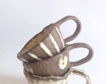 Espresso cup/ Babychino cups/ pottery/ ceramics/ stoneware/ rustic/ toddler mug/ shino style/ baby gift/ spots/ stripes/ plain