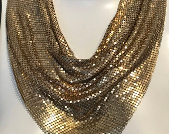 Gold Chain Mail Bib Necklace,1970s