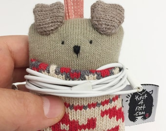 Soft Knit Earphone Case, Animal Earphone Pouch, Earphone Organizer, Christmas Ornament, Animal Pouch, Coin Pouch