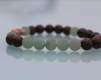 "Jewel Crystal healing, Courage and sweetness bracelet"", natural stones, aventurine, bronzite"