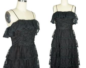 60s Tiered Lace Dress Lace Ruffle Dress Little Black Dress Lace Galore