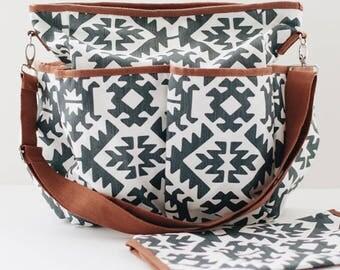 Navy Aztec Canvas Diaper Bag