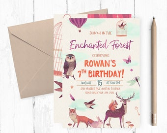 Enchanted Forest Invitation, Enchanted Forest Party, Enchanted Forest Invitations, Enchanted Forest invites, Woodland, Fairytale Garden,