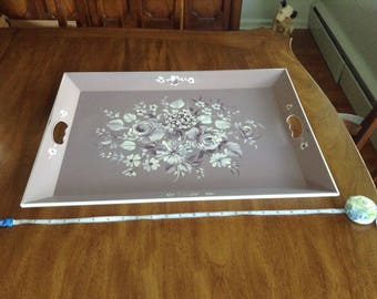 Beautiful Mid-Century Floral Serving Tray from Nashco