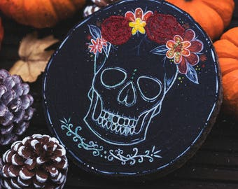 Day of The Dead Skull Hand-Painted Wooden Slice LARGE