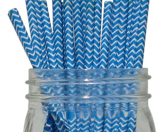 Blue Chevron Paper Straws, Party Supplies, Party Decor, Bar Cart Cake Pop Sticks, Party Graduation