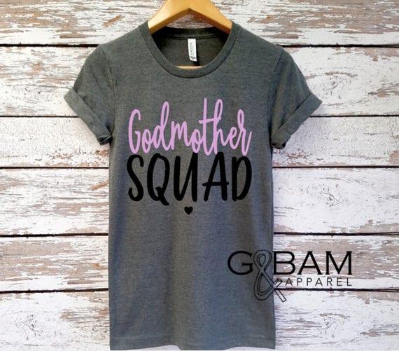 CUSTOMIZABLE Boyfriend tee / Godmother Shirt / Godmother SQUAD / Future God mother shirt