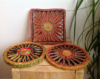 Three woven straw hot pads, vintage trivets, retro kitchen, seventies coasters