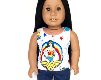 Doll Tank Top, Wonderwoman, White, Red, Yellow, Blue, 18 inch Doll Clothes, Spring, Summer