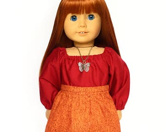Flare Skirt, Orange, Burgundy, Fall, Fits dolls such as American Girl, 18 inch Doll Clothes, Mix and Match