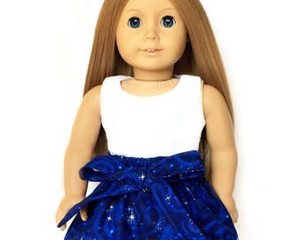 Flare Skirt, Sash, Galaxy, Outer Space, Luciana, Blue, Fits dolls such as American Girl, 18 inch Doll Clothes, GOTY
