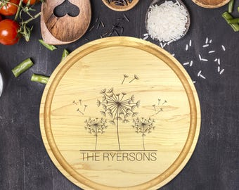 Personalized Cutting Board Round, Cutting Board Personalized, Wedding Gift, Housewarming Gift, Anniversary Gift, Dandelions, B-0073