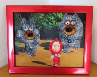 Masha and the Bear with Wolves Made with Beads
