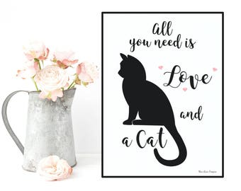 Gift for cat lovers, Quote and cat poster, Typography quote black and white, Poster quote, Wall art decor, Gift for her, Printable wall