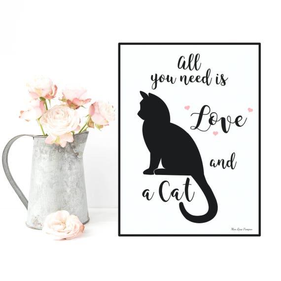 affiche citation et chat affiche noir et blanc cats lovers. Black Bedroom Furniture Sets. Home Design Ideas