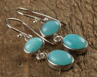 4cm AMAZONITE & STERLING SILVER Earrings - Amazonite Earrings, Amazonite Jewelry, Sterling Silver Jewelry, Amazonite Stone Earrings J1106