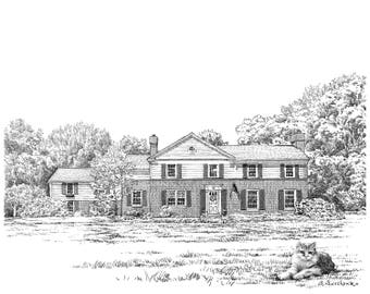 Pen and ink drawing house digital, Custom house sketch from photo, Personalized pen illustration of first home, Custom home or Venue sketch