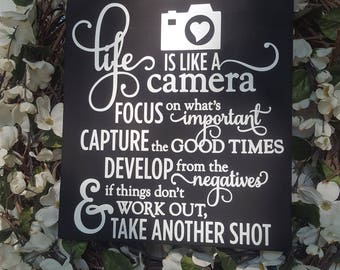 Life Is Like A Camera 12x12 Wall Hanging Wood Sign