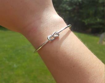 Dainty Infinity Knot Cuff Bracelet | Love Forever Bracelet | 925 Sterling Silver Jewelry | Handmade Wire Cuff Bracelet Jewelry