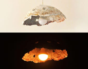 Paper mache lamp, Paper Pulp lamp shade, Mushroom lamp, Mid Century modern ceiling lamp, Wabi Sabi, Modern Light Fixture, Eco Chic, Handmade