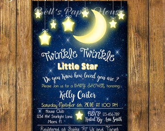 Digital file or Printed-Twinkle Twinkle Little Star Baby Shower Invitation-How We Wonder What You Are-Gender Reveal-Customize-Free Shipping