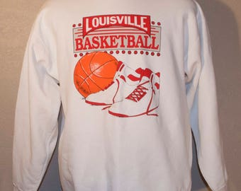 Classic Louisville Cardinals Sweatshirt Savvy Trau & Loevner Basketball White XL X-Large Cotton Blend
