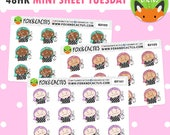 Overstock - MINI SHEET TUESDAY - Polka Dot Dirty Socks Laundry Girl - Washing Laundry Cleaning - Planner Stickers (K0105)