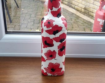 Poppy decoupage bottle - red decorative bottle white vase - floral vase - altered bottle - poppy decor - best selling items - unique vase
