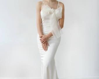 Slim Fitting Silk with Silk Organza Bow Mermaid Wedding Dress