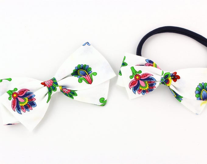 Floral Baby Bow - White Bow For Girls - Bow With Nylon Headband or Clips