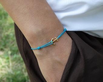 Nautical Bracelet Gold Anchor bracelet Nautical Rope Bracelet Anchor Jewelry Tiny Bracelet Blue thread bracelet womens gift for girlfriend