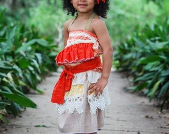 Moana Costume, Moana Dress, Hawaiian Princess Costume, Moana Birthday, Moana Dress-up, Girls Moana, Toddler Moana, Infant Moana