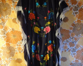 Embroidered Long Flower Pull Over dress