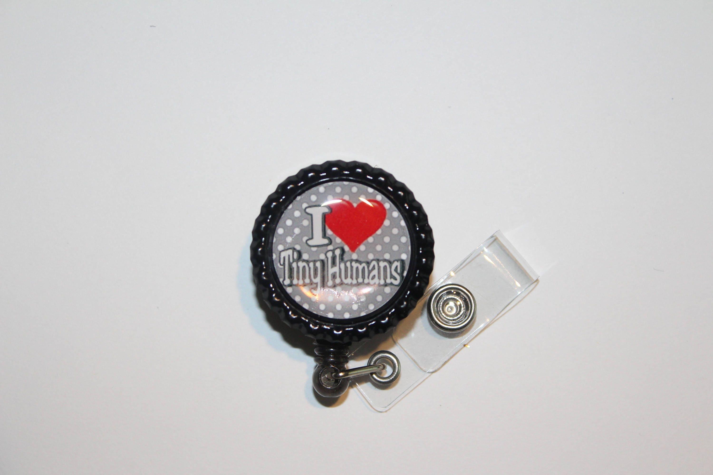 I Love Tiny Humans Black Retractable Badge Reel - Polka Dot - Pinch ...