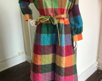 70's quilted maxi dress