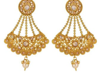 Mala-Style Gold Drop-Down Chandelier Earrings- Indian Earrings, Indian Jewelry, Indian Wedding Jewellery, Indian Bridal Earrings, Bride Gift