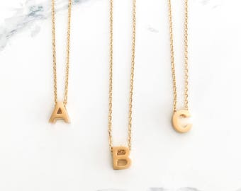 Mini Initial Necklace, Gold Personalized Necklace, Letter, Alphabet Beads, Small Tiny Letter Pendant, Capital, Minimal, Gift, Dainty, Thin