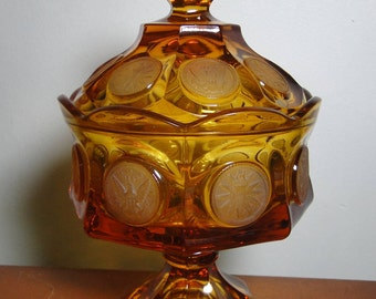 """Large Fostoria Coin Glass Amber Covered Candy Jar / Dish - 8 1/4"""" Tall - Footed - Great Find!"""