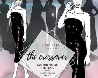 The Crossover | Fashion Template, Fashion Illustration, Croquis, Fashion drawing