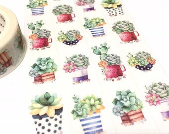 cute potted plant washi tape 7M x 2cm mini Succulent plant fat plant Green plant Masking tape plant diary gardening planner sticker tape