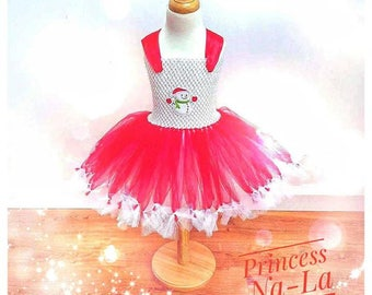 Snowman Dress - Christmas Tutu - Holiday Outfit - Fancy Dress - Puffy Tutu Dress - Christmas Dress - Santa Little Helper - Red Dress -  -