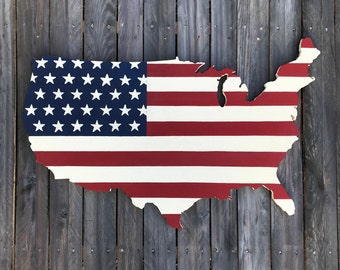 USA Wall Hanging 32 inch Rustic United States Flag Map