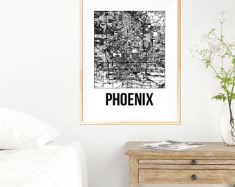 Phoenix City Map Print - Black and White Minimalist City Map - Phoenix Map - Phoenix Print - Many Sizes/Colours Available