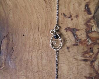 Bracelet Onyx et Chaîne en Argent 925.